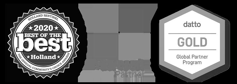 Best of Holland, Microsoft Silver Partner, Datto Gold Global Partner Badges